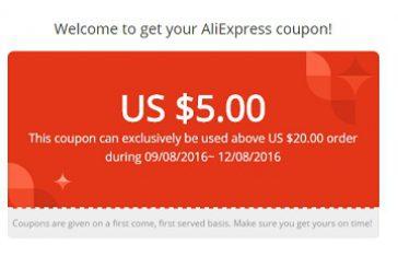 Получите купон Aliexpress 5$/20$