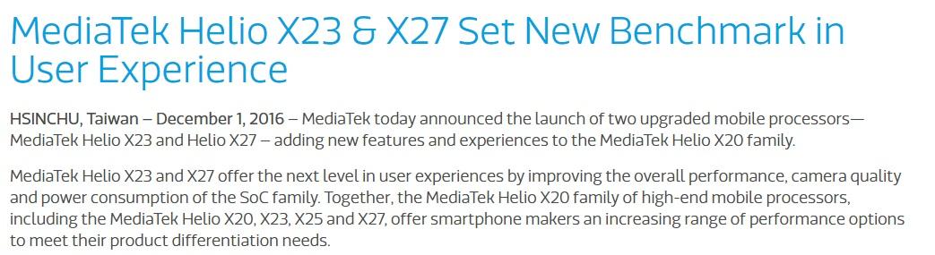 Helio X23 и X27