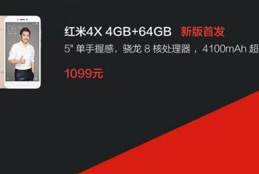 Вышла новая версия Xiaomi Redmi 4X с 4/64 Гб