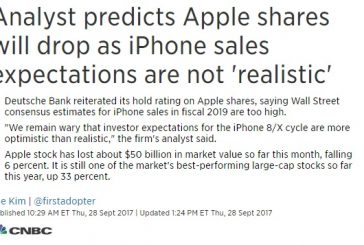 Аналитик Deutsche Bank прогнозирует снижение продаж Apple