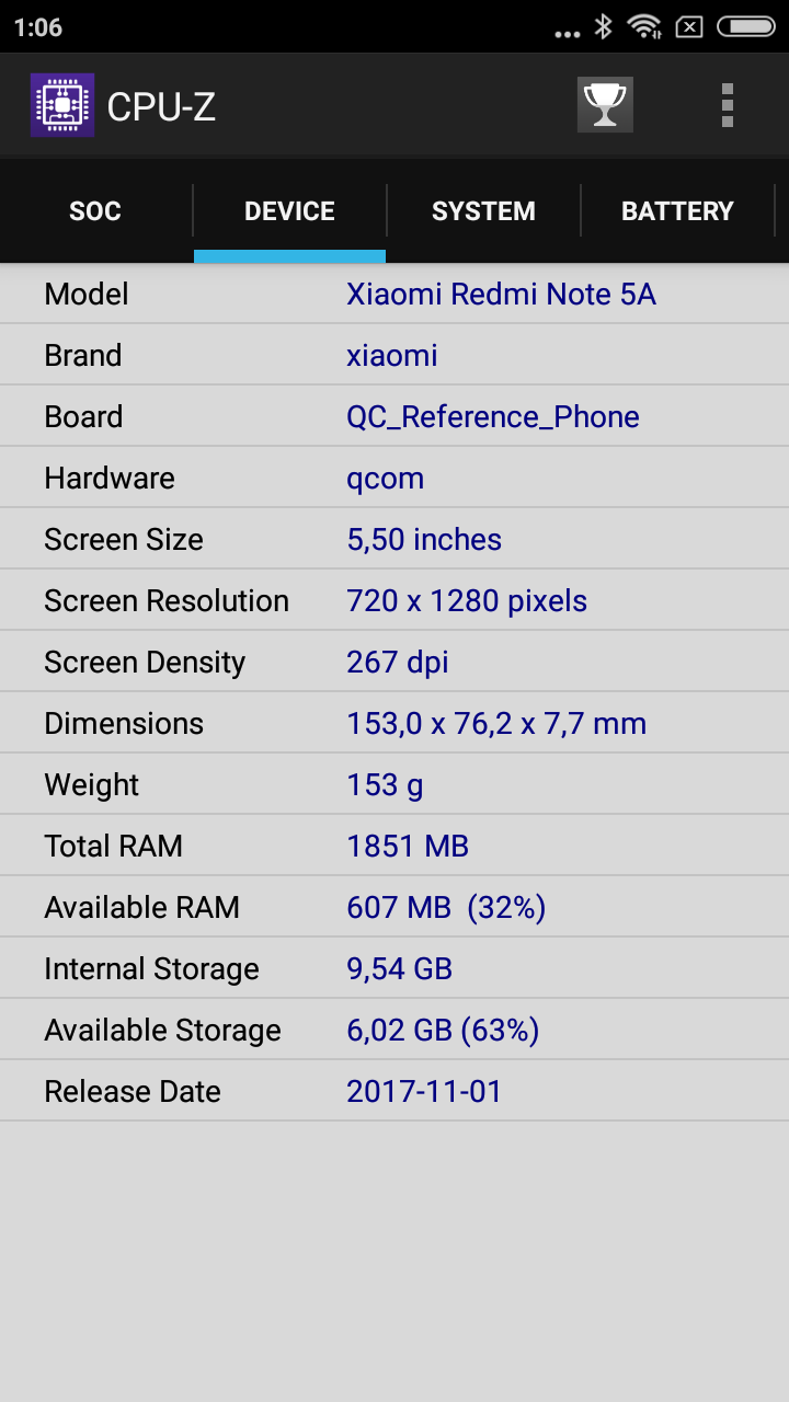 CPU Z redmi note 5a