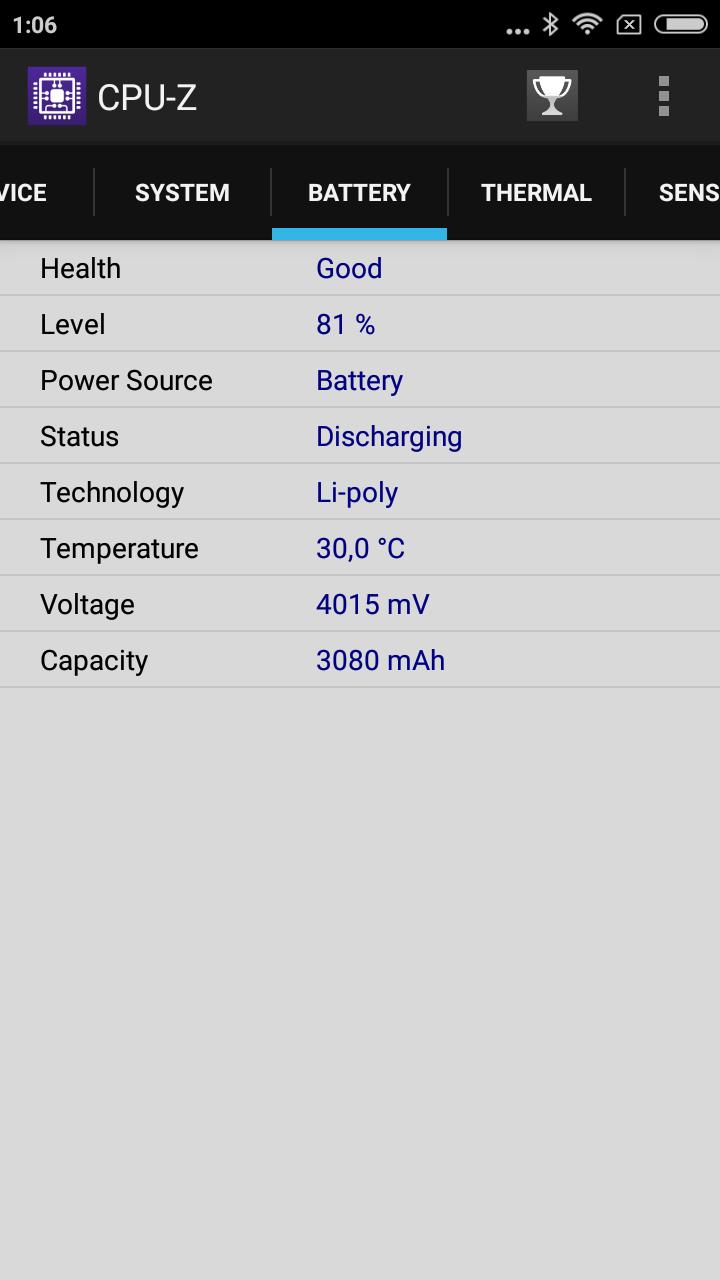 CPU Z redmi note 5a