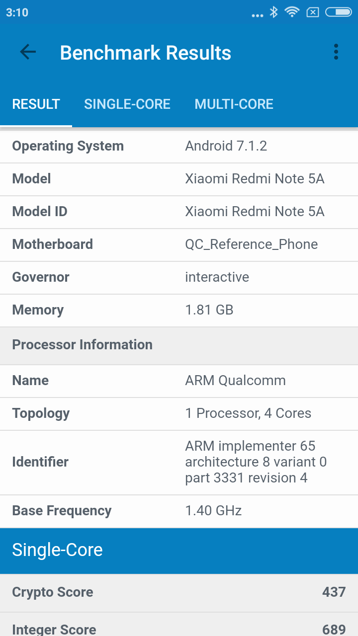 geekbench redmi note 5a