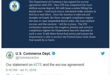 C компании ZTE частично сняли санкции в США